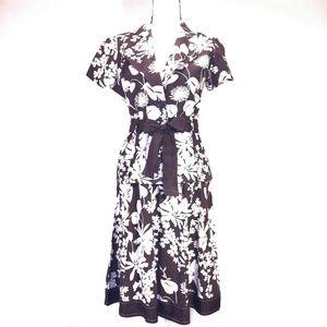 Linen Rayon Skirt Set Suit Dress S Tie Floral